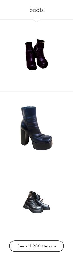 """""""boots"""" by unapersonacomun ❤ liked on Polyvore featuring shoes, boots, black, black shoes, kohl shoes, ankle booties, black lace up booties, black ankle booties, black leather booties and black heeled boots"""