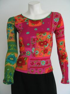 Womens Juniors Top Tee T Shirt Floral Long Sleeves Multi Color Size M