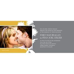 Stylish Flower Background -- Photo Wedding Invitation