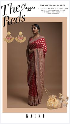 Scarlet red banarsi saree in georgette adorned with weaved floral buttis along with floral jaal on the pallu. It comes with weaved border and pallu adorned with pearls, zardozi and cut dana work. Teamed with a matching unstitched blouse with weaved stripes. The length of the blouse is 1.13 meters. Red Saree, Saree Dress, Banarsi Saree, Red Fabric, Saree Blouse Designs, Saris, Saree Wedding, Scarlet, Festive