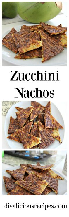 Low carb and gluten free nachos made with zucchini and cheese.