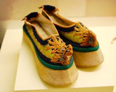 High Manchu shoes, lavishly decorated, Forbidden City collection.