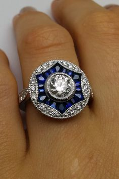 Diamond Art Deco Engagement ring Blue Sapphire & Diamonds Halo in 14K White Gold