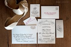 Wedding Invitation Suite with calligraphy. @Kristen - Storefront Life Weaver