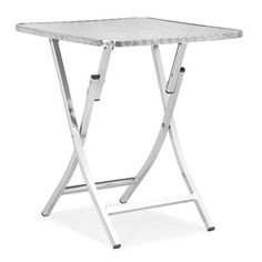 Salzburg Aluminum Folding Table | Overstock.com With convenient folding and vertical standing storage, this Salzburg table is the perfect cafe or patio piece. This table features an aluminum wrapped MDF top on an all aluminum body.   $70
