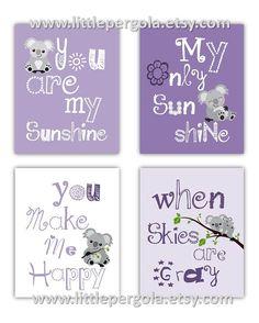 SALE Purple Art for kids Koala art for Kids You by Little Pergola Art