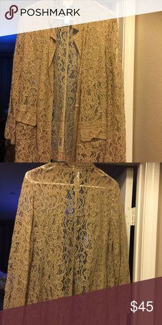 Jacket Georgeous tan lace jacket. Great for summer dressed up or for work with a tank. Snap closure. Chicos Jackets & Coats Blazers