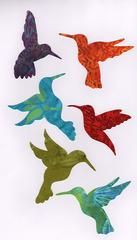 Our hummingbird family features 6 small fusible hummingbirds made with brightly colored batik fabrics. The package is tied in a pretty ribbon with a decorative charm attached. Fabrics may vary from Bird Applique, Applique Patterns, Applique Quilts, Applique Designs, Quilting Designs, Quilt Patterns, Maori Patterns, Applique Ideas, Applique Templates