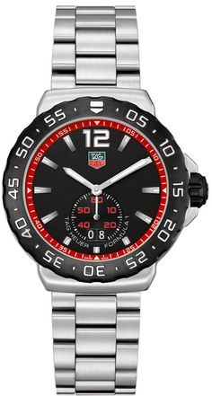 WAU1114.BA0858   NEW TAG HEUER FORMULA 1 MENS QUARTZ WATCH IN STOCK - Hassle free returns thru Jan 31st   - FREE Overnight Shipping | Lowest Price Guaranteed    - NO SALES TAX (Outside California) - WITH MANUFACTURER SERIAL NUMBERS - Black Dial with Red Detailing - Black Bezel - Date Feature - Battery Operated Quartz Movement- 3 Year Warranty- Guaranteed Authentic - Certificate of Authenticity- Scratch Resistant Sapphire Crystal- Brushed Steel Case