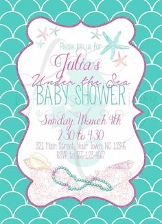 Under The Sea Baby Shower Invitation #KendrasCreations