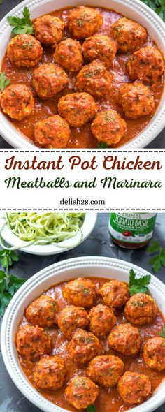 INSTANT POT CHICKEN MEATBALLS AND MARINARA : WHOLE 30 ,PALEO,30 MINUTES Ip Chicken, Chicken Marinara, Chicken Riggies, Ground Chicken Meatballs, Forgotten Chicken, Healthy Weeknight Meals, Primal Kitchen, Meatball Recipes, Food Blogs