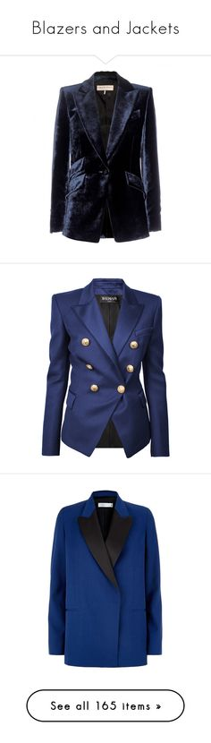 """""""Blazers and Jackets"""" by thatsluv on Polyvore featuring blazers, jackets, outerwear, blue, emilio pucci jacket, blue velvet jacket, velvet jacket, blue velvet blazer, blue jackets e balmain"""