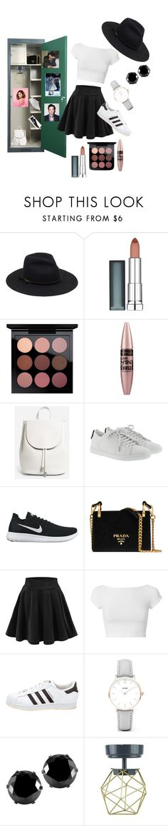"""""""Aria Locker"""" by chelseamcgruder on Polyvore featuring Maybelline, Everlane, Yves Saint Laurent, NIKE, Prada, Helmut Lang, adidas, CLUSE, West Coast Jewelry and U Brands"""
