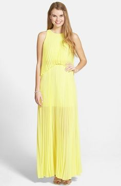 BCBGMAXAZRIA 'Shaina' Pleated Georgette Popover Gown #yellow A Line Gown, Yellow Fashion, Bcbgmaxazria Dresses, Casual Skirts, Yellow Dress, Pleated Skirt, Lace Dress, Gowns, Summer Dresses