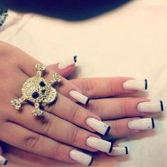 #nails #longnails #skull #beauty #ring