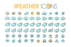 Flat thin line weather icons set by painterr on @creativework247