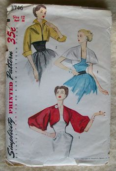 Vintage 1951 Simplicity Sewing Pattern 3746 Women's Short Evening Jacket & Cape