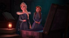 Elsa and Anna looking through their old stuff in the attic.