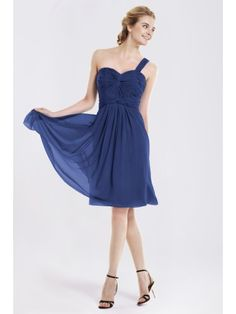 Knotted Ruche Chiffon One Shoulder Bridesmaid Dress | Up to 15% off, plus FREE Custom Made! 10+ measurements required for a perfect fit, no matter what sizes you are in!