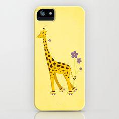 Yellow Funny Roller Skating Giraffe iPhone & iPod Case by Boriana Giormova - $35.00