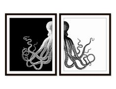 Octopus Art Print Beach Nautical Print Beach House by Picturality, $18.00