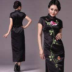 Shop elegant silk cheongsam, traditional Chinese red bridal dresses, sexy modernize Qipao from www.ModernQipao.com. Save 6% by share our products. Embroidered peony floral black silk satin long Chinese mandarin collar dress