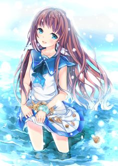 1girl blue_eyes brown_hair feet_in_water fipo highres long_hair mukaido_manaka nagi_no_asukara sailor_dress school_uniform scrunchie seashel...