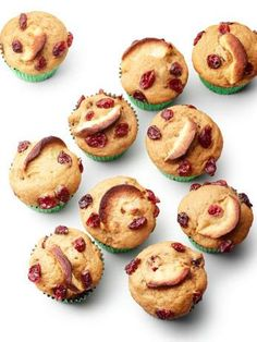 Apple-Cranberry Muffins (No. 10) : Mix 2 cups flour, 1/2 teaspoon cinnamon, 1/2 cup dried cranberries, 1 teaspoon baking powder, 1/2 teaspoon salt and 1/4 teaspoon baking soda. Whisk 3/4 cup brown sugar, 1 stick melted butter, 1/2 cup each applesauce and sour cream, and 2 eggs; fold into the flour mixture. Divide among 12 prepared muffin cups. Top with dried apples and dried cranberries before baking; bake 20 to 25 minutes.