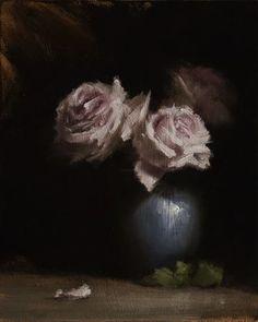 """Neil Carroll     Roses in Vase 10x8"""" Oil on panel"""