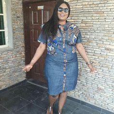 Jean dress shirt Jeans Gown, Demin Dress, Dress Shirt, African Attire, African Fashion Dresses, Unique Dresses, Dresses For Work, African Shirt Dress, Mode Jeans