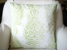 Green Damask Pillow Cover, Decorative Throw Pillows, Cushion Cover, Kiwi Green White Manchester Shabby Chic, Sofa Bed Pillows, One ALL SIZES