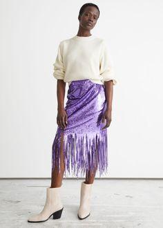 Sequin Fringe Midi Skirt - Purple Sequins - Midi skirts - & Other Stories GB