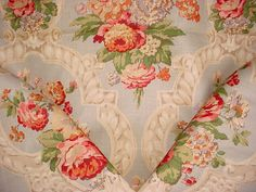 1-7/8 yards Lee Jofa 990121 Knightshayes in Celedon - Floral Bouquet / Scroll Luxury Linen Print Drapery Upholstery Fabric - Free Shipping