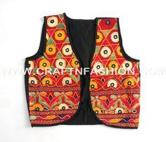 Indian Ethnic Style Cotton Jacket Koti Shrug #craftnfashion#kutchembroideredkoti#sleevleessjacket#latestethnicshrug#multicolouredkoti