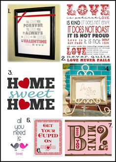 Frame up a free printable for your home for Valentine's Day...so many free printables on this site!