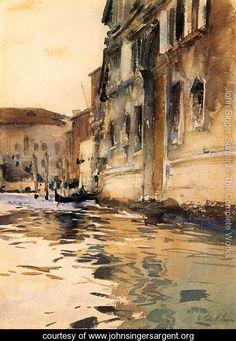 Venetian Canal, Palazzo Corner - John Singer Sargent - www.johnsingersargent.org