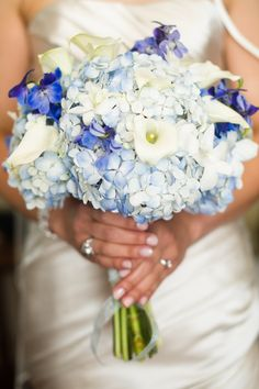 Crystal's blue hydrangea bouquet from her multicultural DC wedding