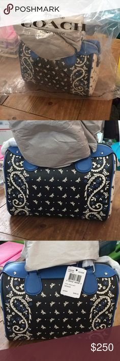Coach Purse Brand new, butterfly and paisley authentic Coach Purse. Still has tags, never used. Dark blue, light blue, and white. Coach Bags Satchels