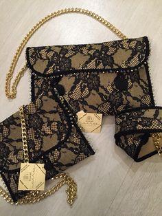 Borse e cintura in nappa con pizzo impresso e cristalli cuciti a mano #handmade #bags #luxury #chic