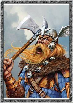 """BERGELMIR - his name means """"Mountain yeller"""" or """"Bear Yeller"""". He was a frost JOTUN, and the son of THRUDGELMIR and the grandson of YMIR, the first giant. BERGELMIR and his wife were the only two survivors of all the giants after YMIR's death and the flood. They used a hollowed out tree trunk to sail on the flood, it was the first boat. Because of BERGELMIR and his wife, the race of frost giants and ogres were able to survive and live in JOTUNHEIM."""