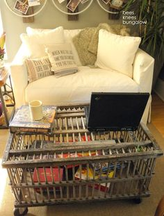old wooden chicken cage as the coffee table