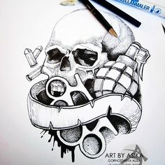 modèle tatouage Tete de mort tribal - #370324