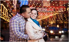 A lovely engagement photo from Larimer Square in Denver Colorado taken under the string lights at sunset. Larimer Square Denver Engagement photo. - April O'Hare Photography http://www.apriloharephotography.com  #DenverEngagement #WinterinDenver #urbanengagement #urbanphotos #DenverUrbanPhotos #lododenver #downtowndenver #denverphotographer #LarimerSquare #LarimerSquareDenver #LarimerSquareEngagement