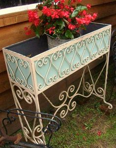 Antique Vintage Southern French Country Victorian Arts & Crafts Porch Hammered Ornate Wr - All About Gardens Victorian Porch, Victorian Gardens, Victorian Art, Vintage Patio, Vintage Gardening, Decorative Planters, Backyard Projects, Flower Boxes, Wrought Iron