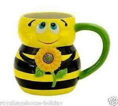 52557 Bumble Bee Ceramic Coffee Mug Cup Tea Hot Cocoa Honey Sun Flower