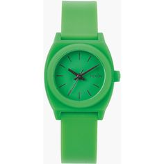 Nixon Small Time Teller P Watch (79 CAD) ❤ liked on Polyvore featuring jewelry, watches, green, stainless steel watches, stainless steel jewellery, nixon jewelry, nixon and buckle jewelry