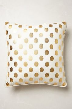 Anthropologie inspired pillow cover 1 20x20 in white with gold dots, available in other sizes. This one has a knife edge. Piping is available for