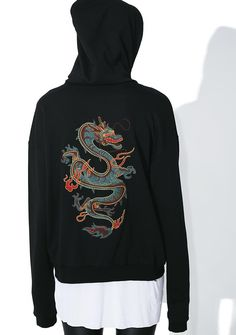 "Firebreather Zip-Up Hoodie yew always bring the heat, babe. Light it up in this hoodie that features a soft black construction, two side pockets, white ""baby, lite me up"" text on the chest and a sikk dragon snakin' up the back."