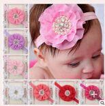 10pcs/lot Newborn Baby Girls Satin Ribbon Band Chiffon Flower Headbands  Infant Baby Princess Hairbands Hair Accessories