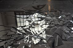 Another close up from the art installation in the Oude Kerk, Amsterdam by Marinus Boezem using broken mirrors to reflect the ceiling above in shattered fragments.